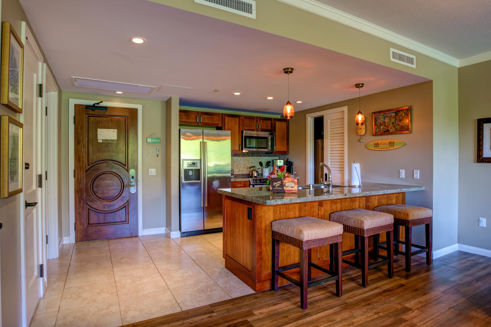 LARGE kitchen that comes fully stocked for nightly meals