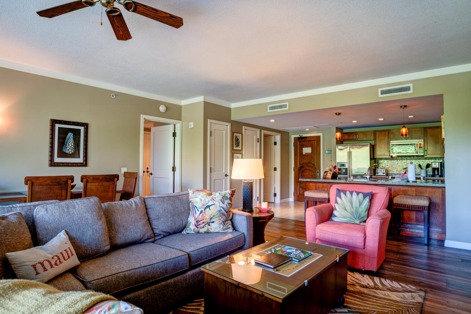 LARGE open concept with ceiling fans through out