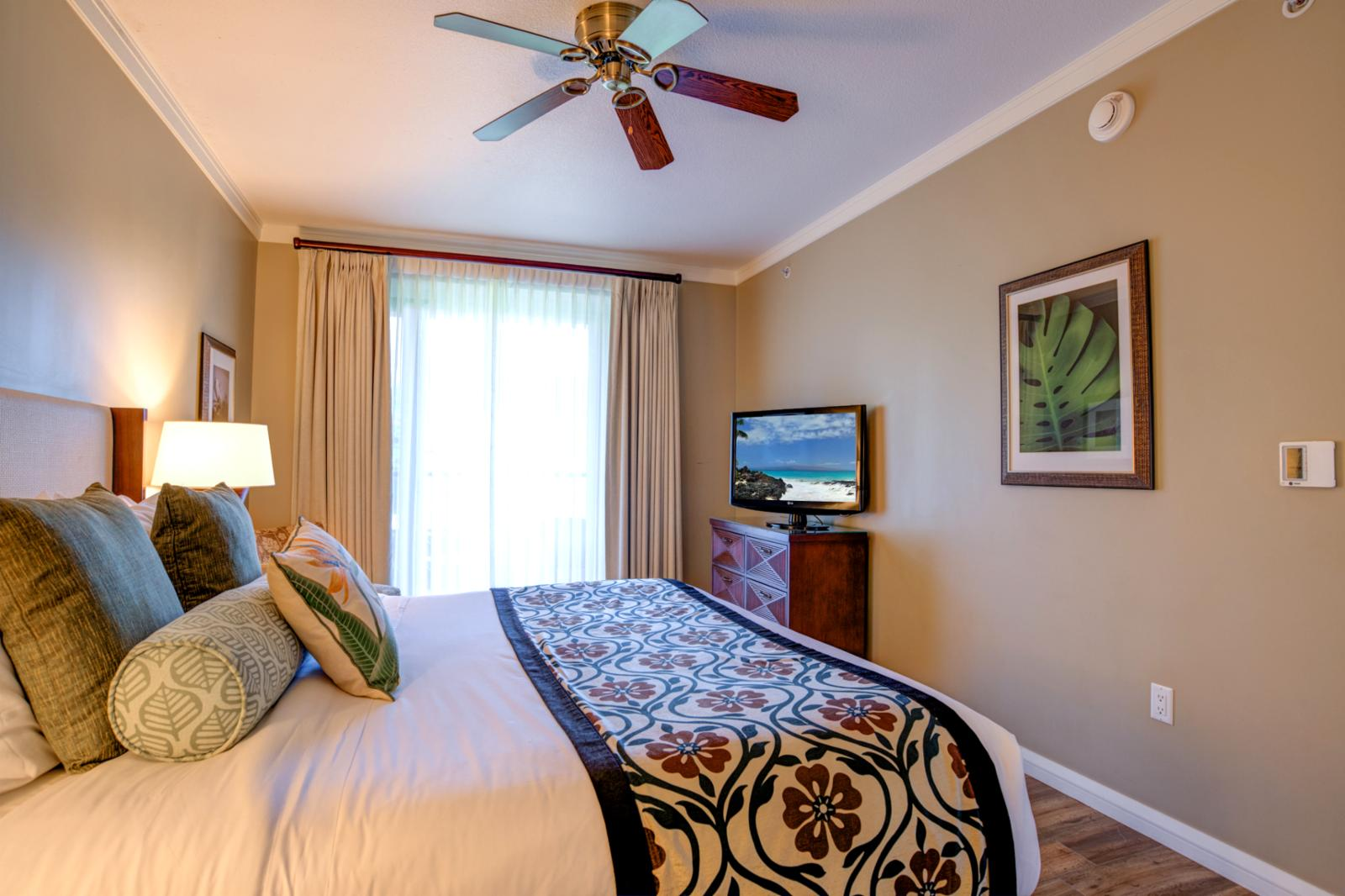 LARGE flatscreen television and in suite ceiling fan