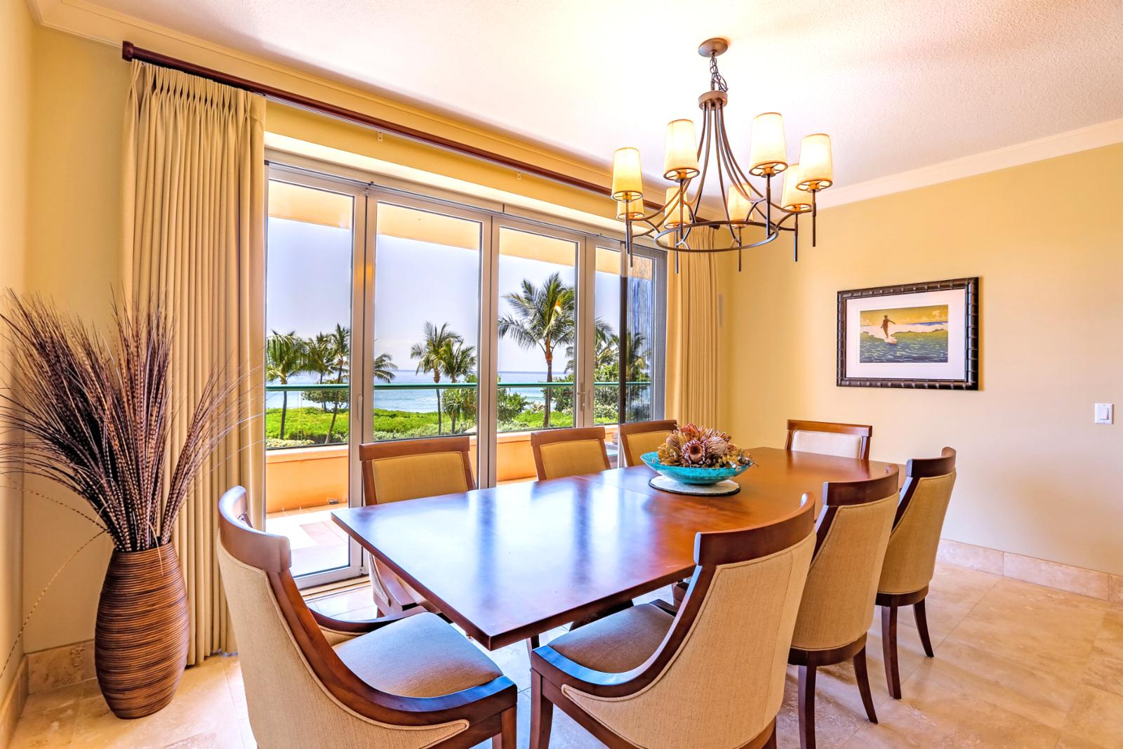 Large dining room table with a view.