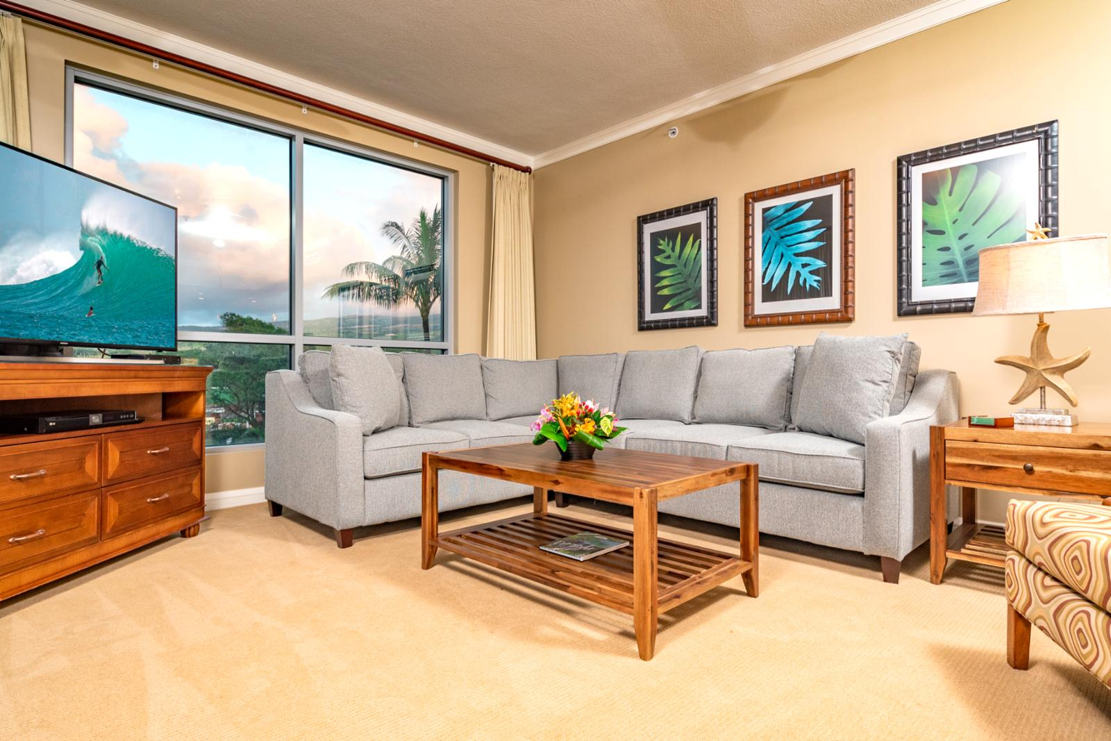 NEW pull out sleeper sofa with mountain views from the living area