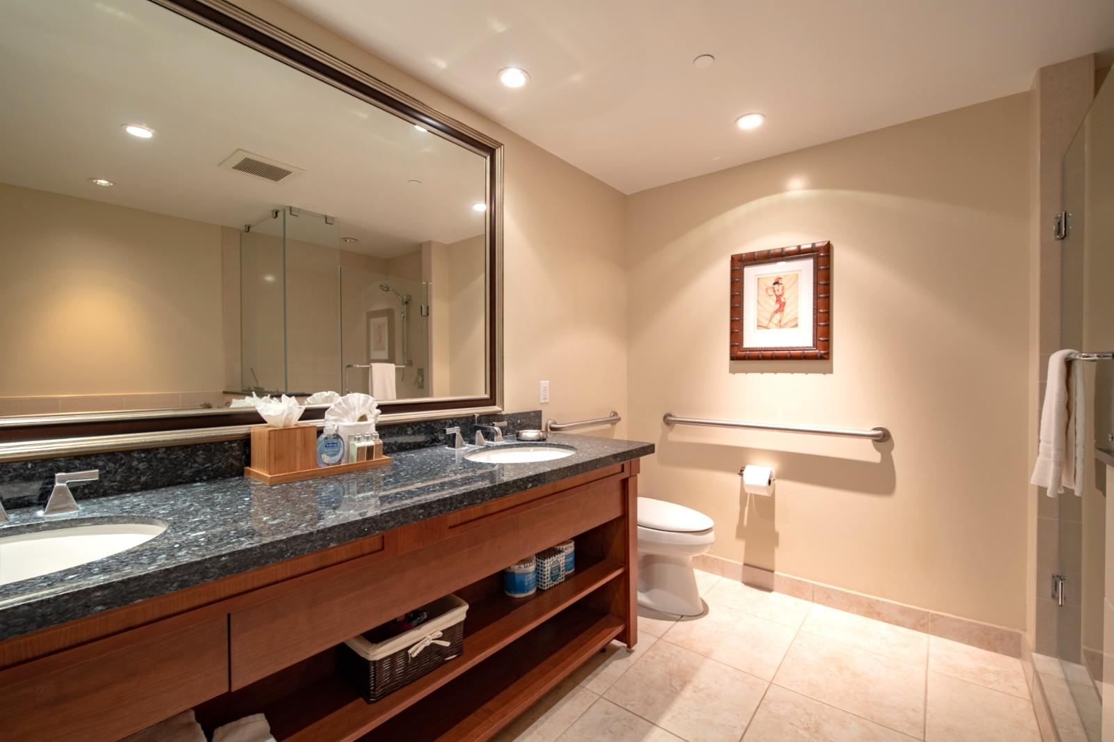 Custom counter with dual sinks and LED accent lighting