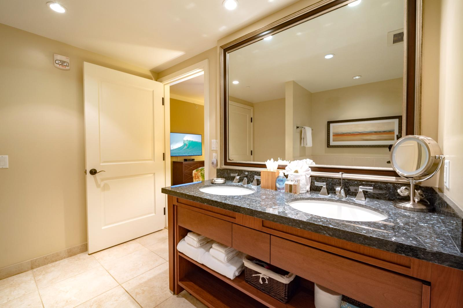 Large master bathroom layout with private access from master bedroom