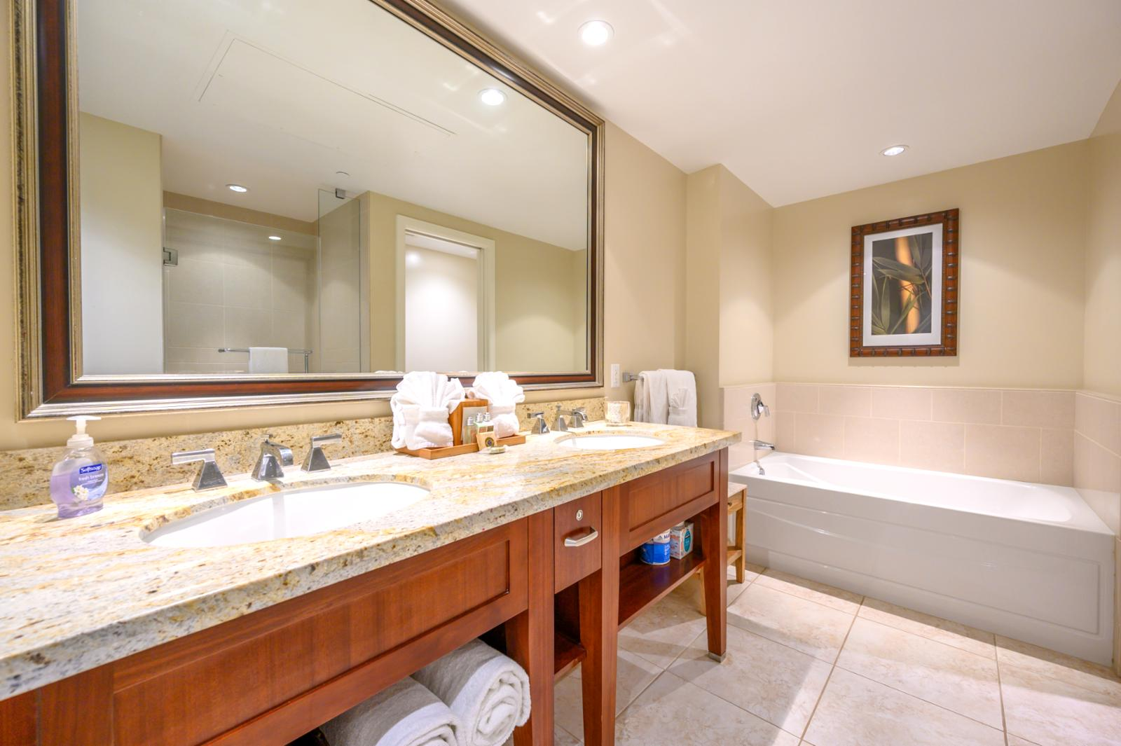 Master Bath with double vanity and Large soaking tub