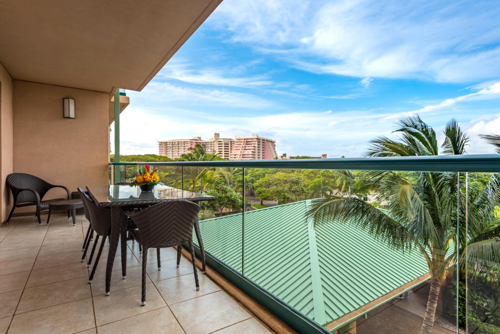 Balcony fit for grand entertaining and relaxation