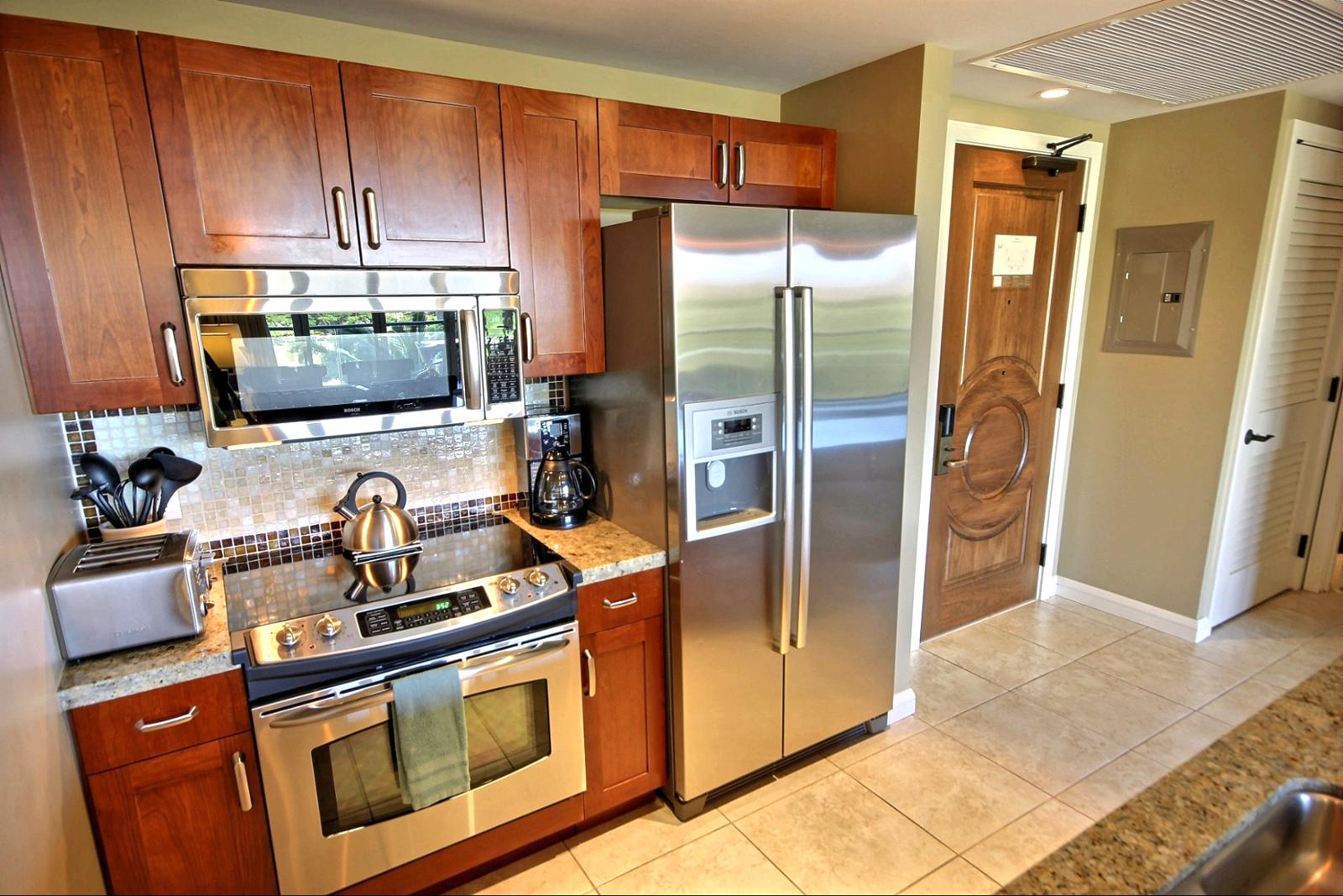 This kitchen has everything you need and the comforts of home to prepare all your meals