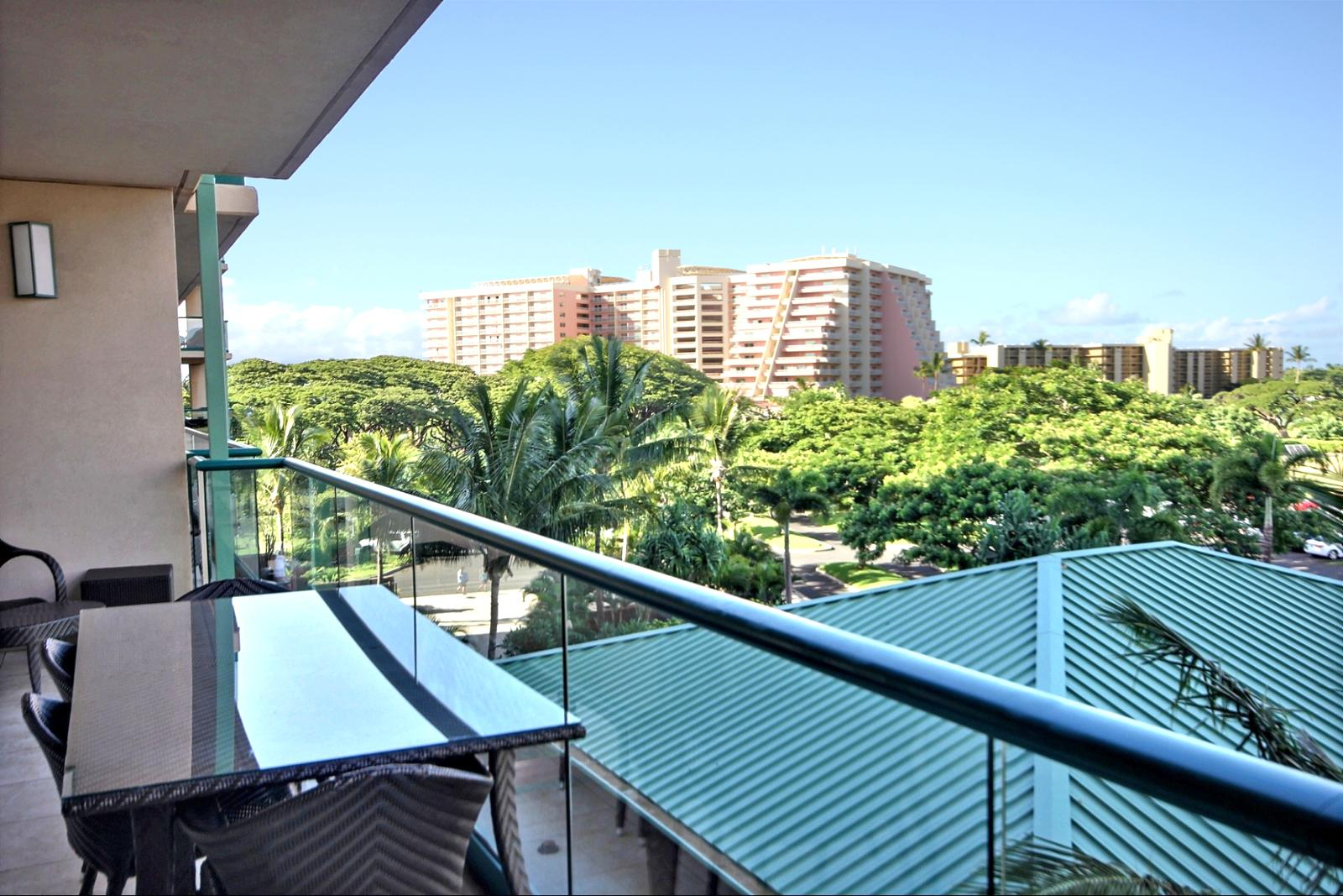 The view off the lanai looking to your left. Notice the large out door dining table with seating for four(4).