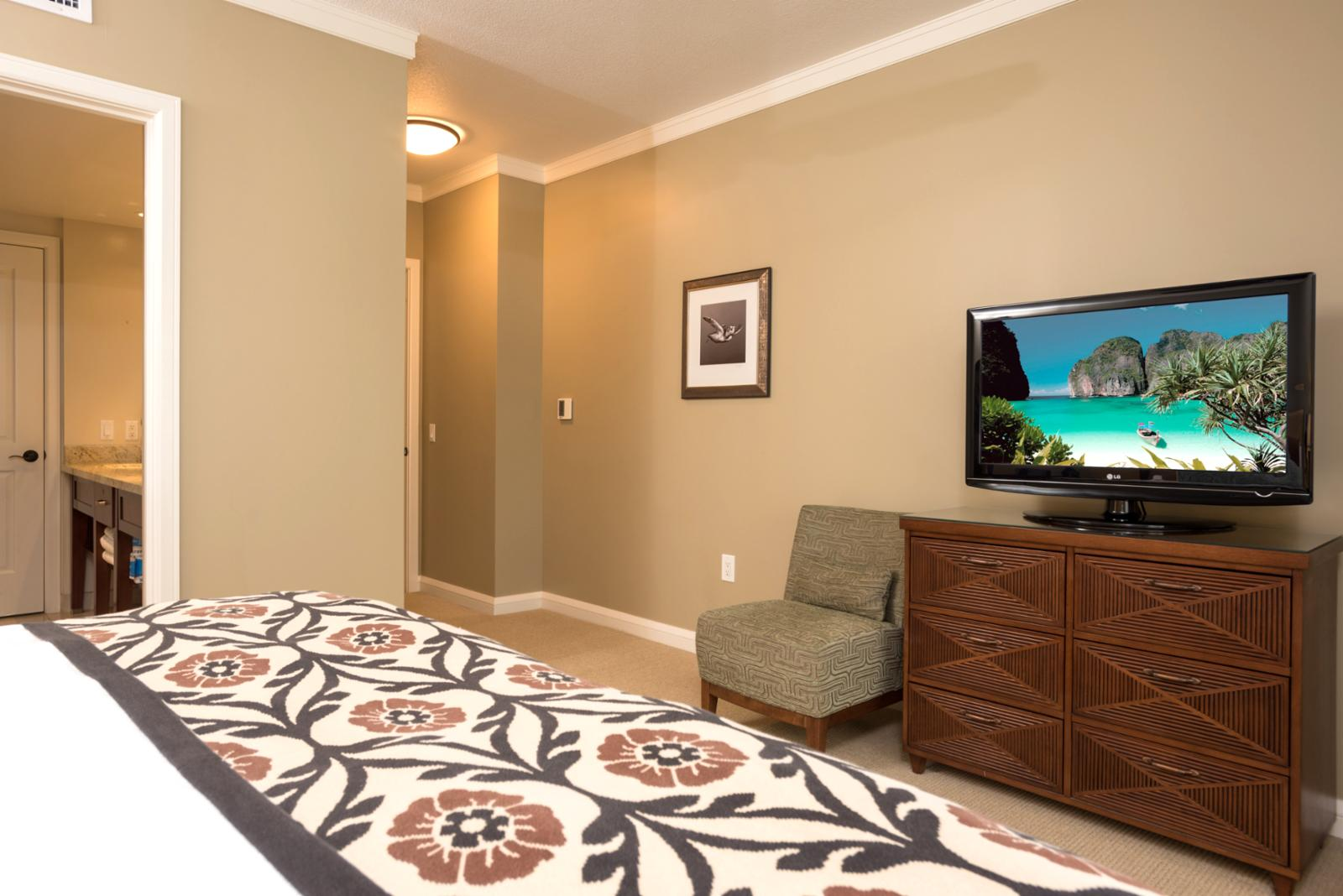 Master bedroom with television and main entry