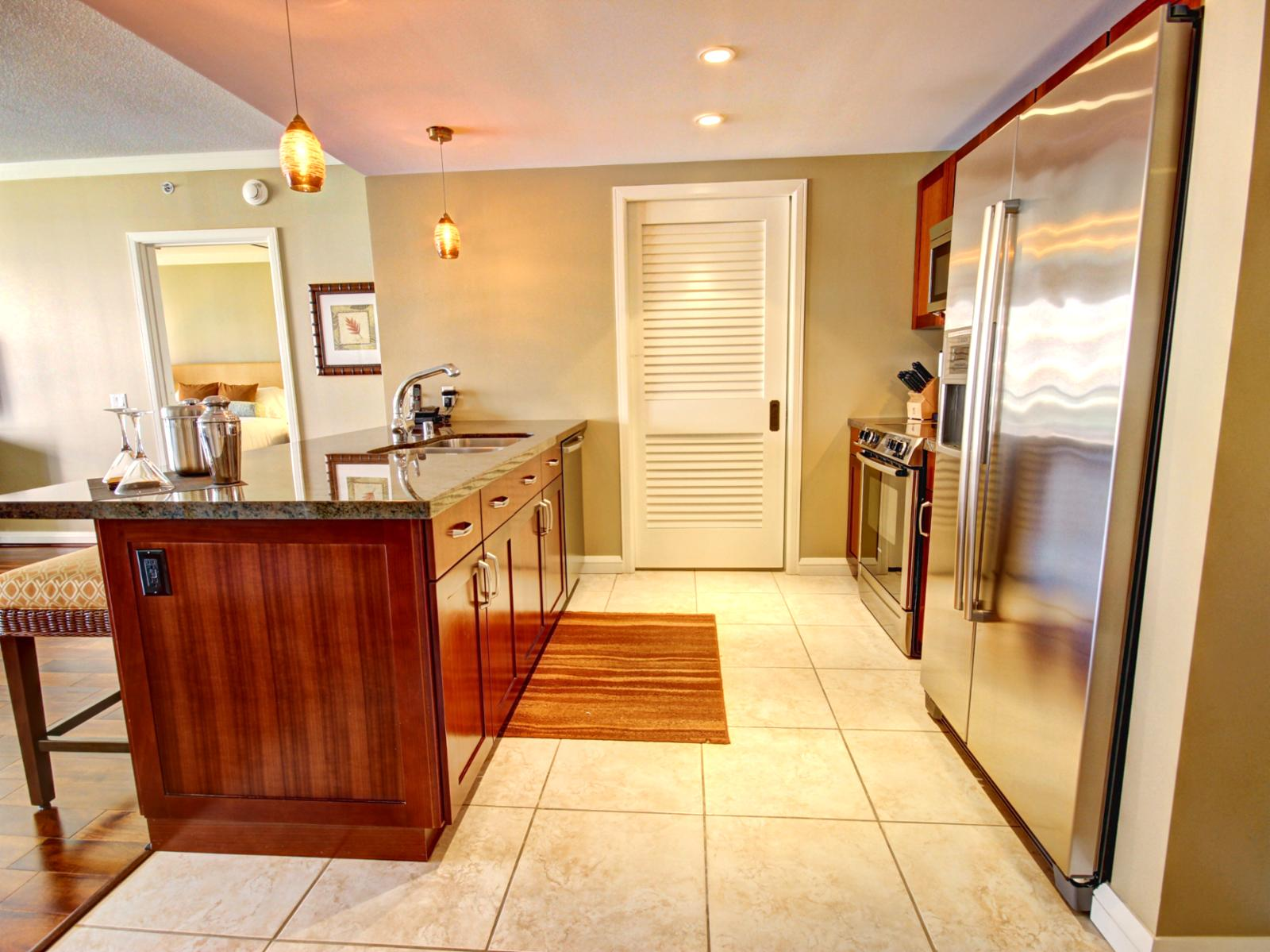 Gourmet kitchen with full size Bosch Appliances.