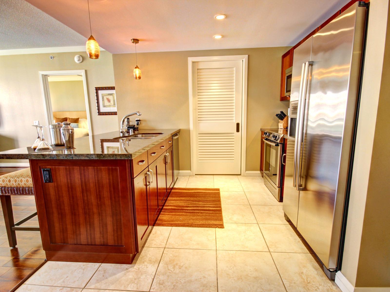 Gourmet kitchen with full size Bosch Appliances.
