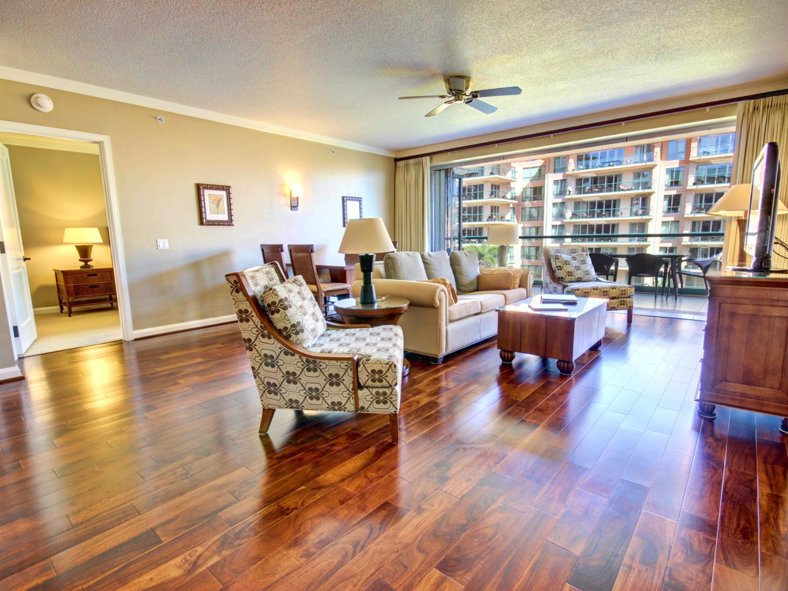 A beautiful well appointed living space with hardwood floors and queen sleeper sofa.