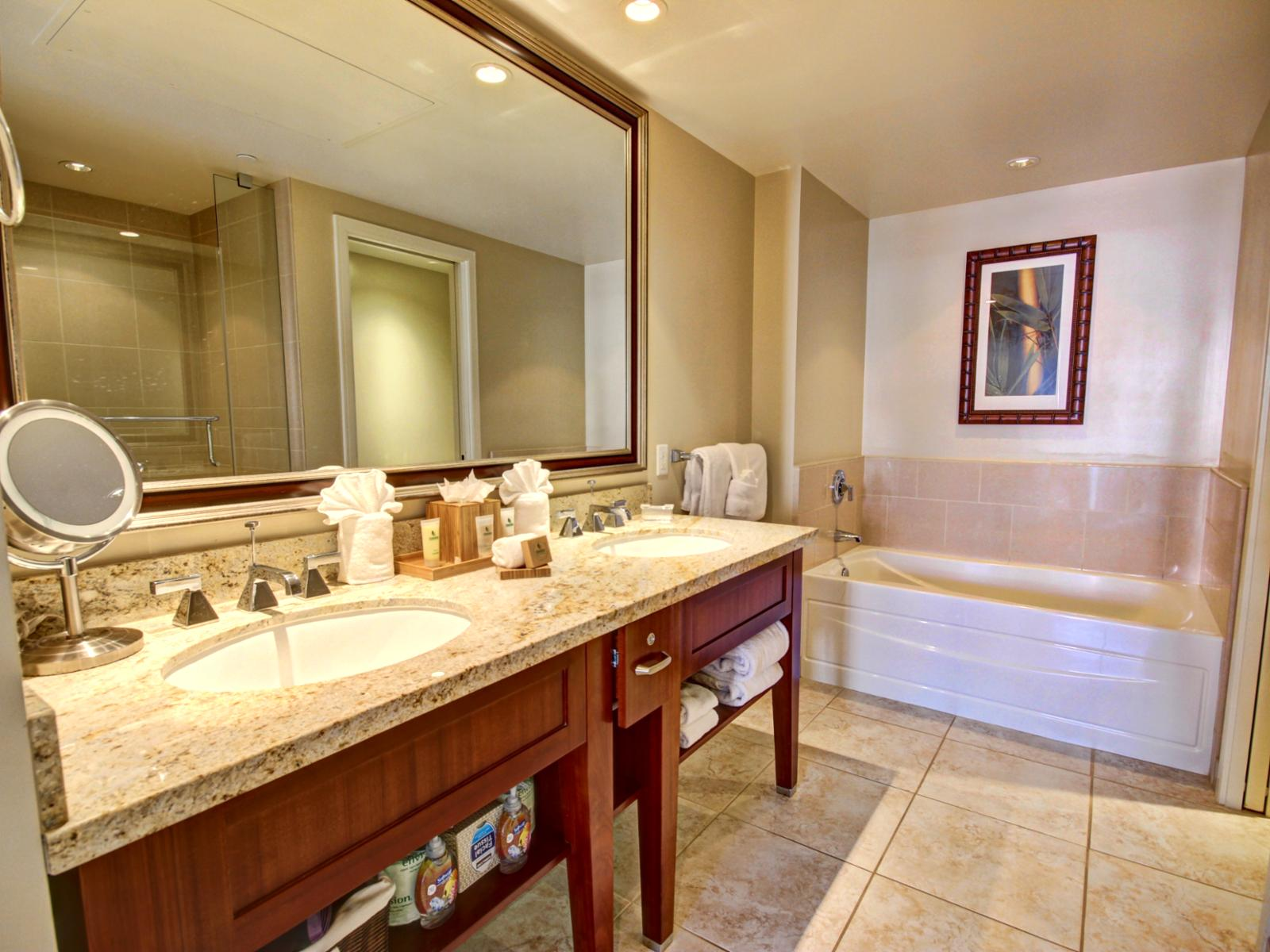 Master bathroom has a separate shower, bathtub and water closet.