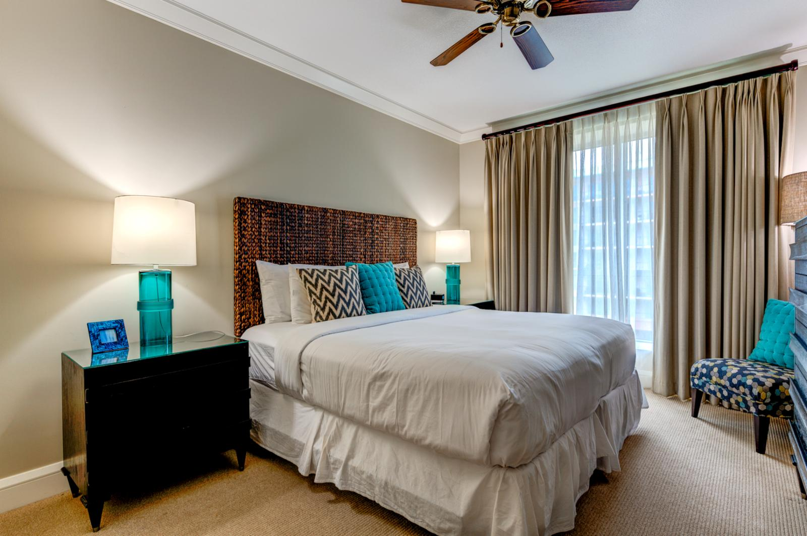 Ocean blue accents surrounding this comfortable and relaxing bed