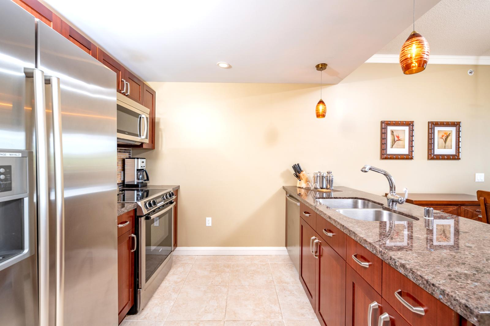Large layout and ample counter space for meal prep