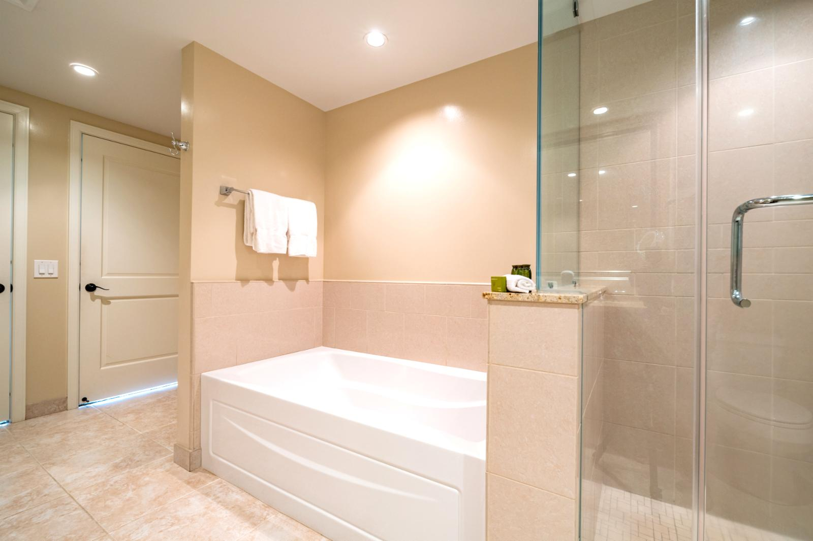 LARGE bathroom with floor to ceiling glass enclosed shower
