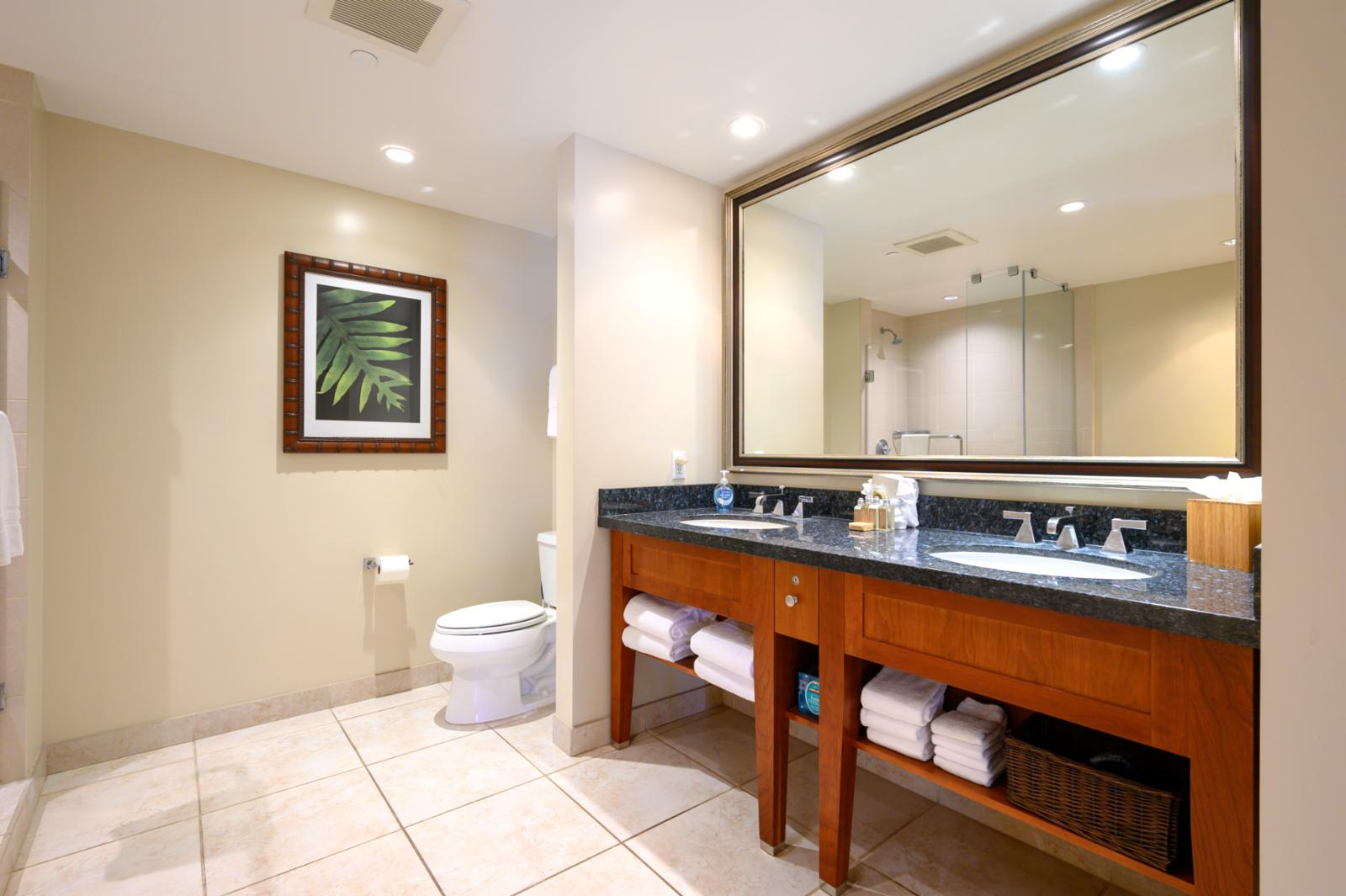 Spacious master bath with double sinks