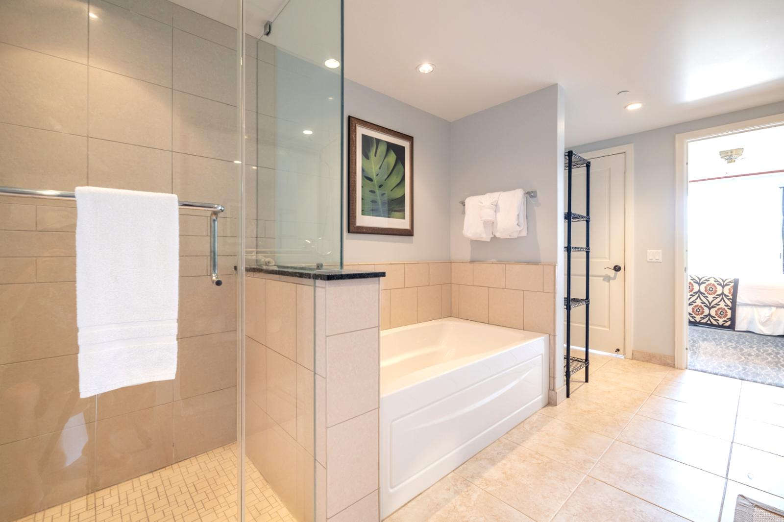 Glass enclosed shower from floor to ceiling and adjacent tub, hallway access