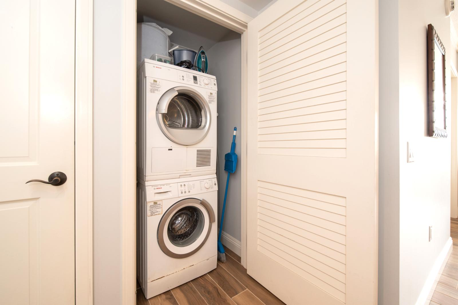 BOSCH stackable washer and dryer, ready for your use