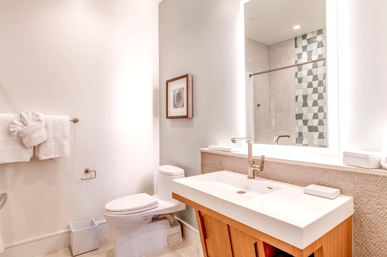 Large bathroom with premium lighting