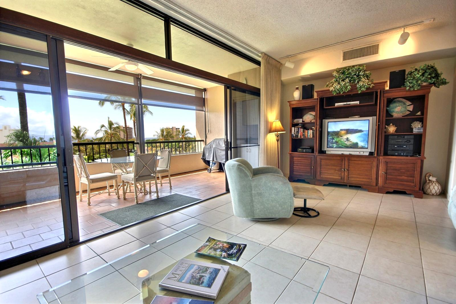 Looking out from the living room to the large lanai