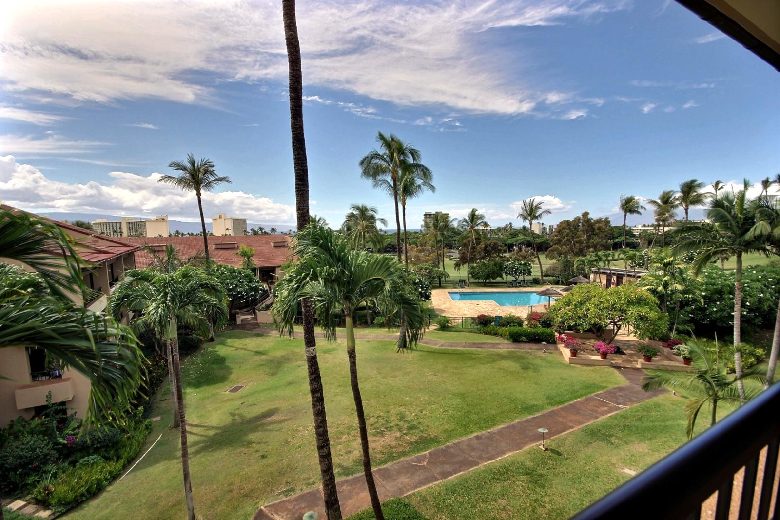 Can't better location and price on this unit. Views of Kaanapali Golf Course with Ocean and Island Views