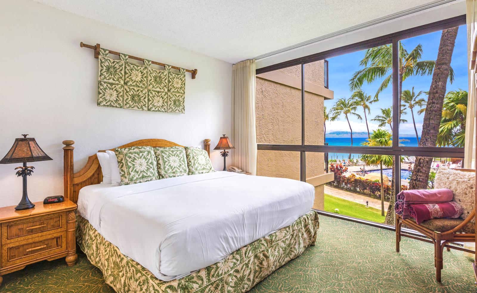 LARGE comfortable master bedroom with ocean views every morning