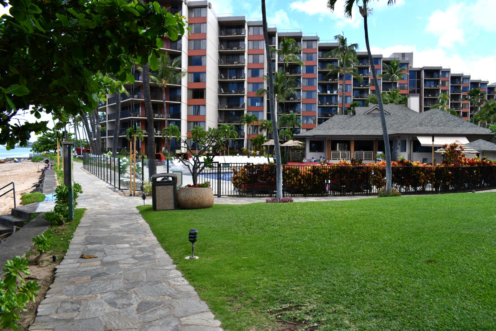 Beachfront walking paths with adjacent shower