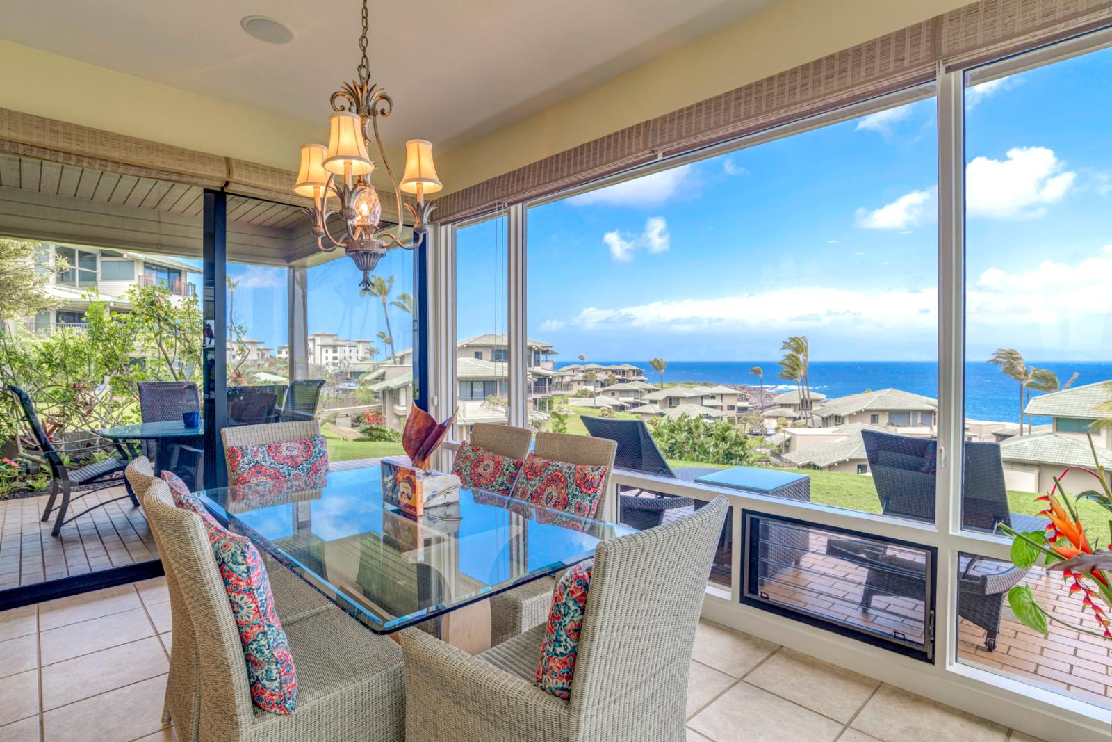 Enjoy ocean views from the formal dining table, seating for (6)