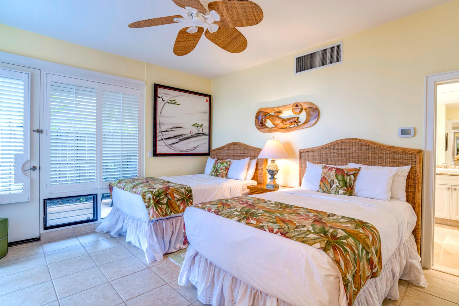 Newly upgraded furnishings and equipped with ceiling fans throughout