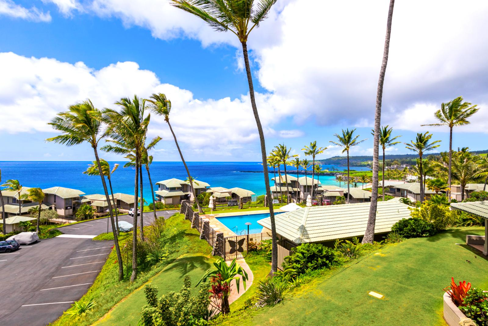 Pool and BBQ area is perfect for families and the Kapalua Coastal Trail is steps away!
