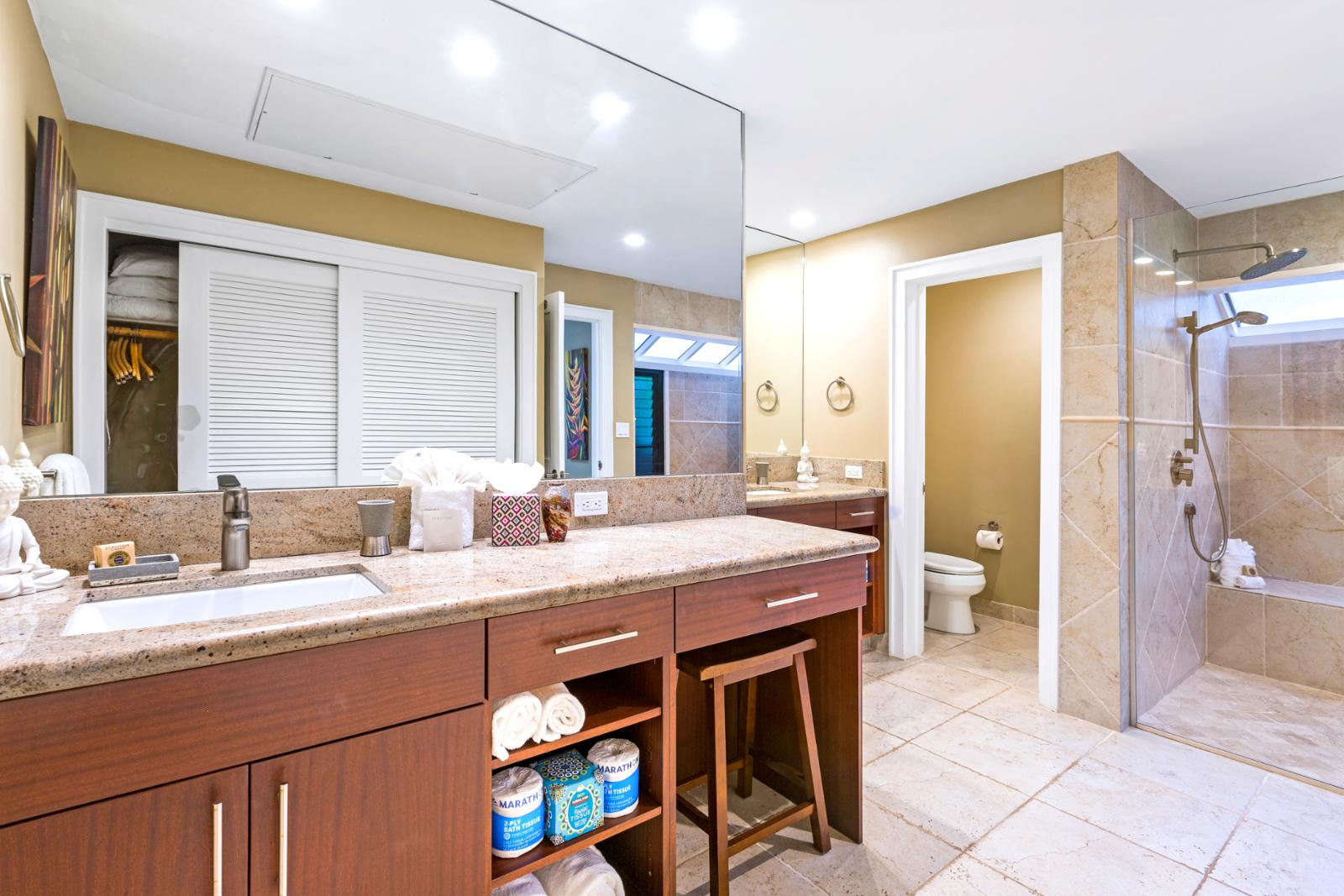 Open floor plan and beautiful shower