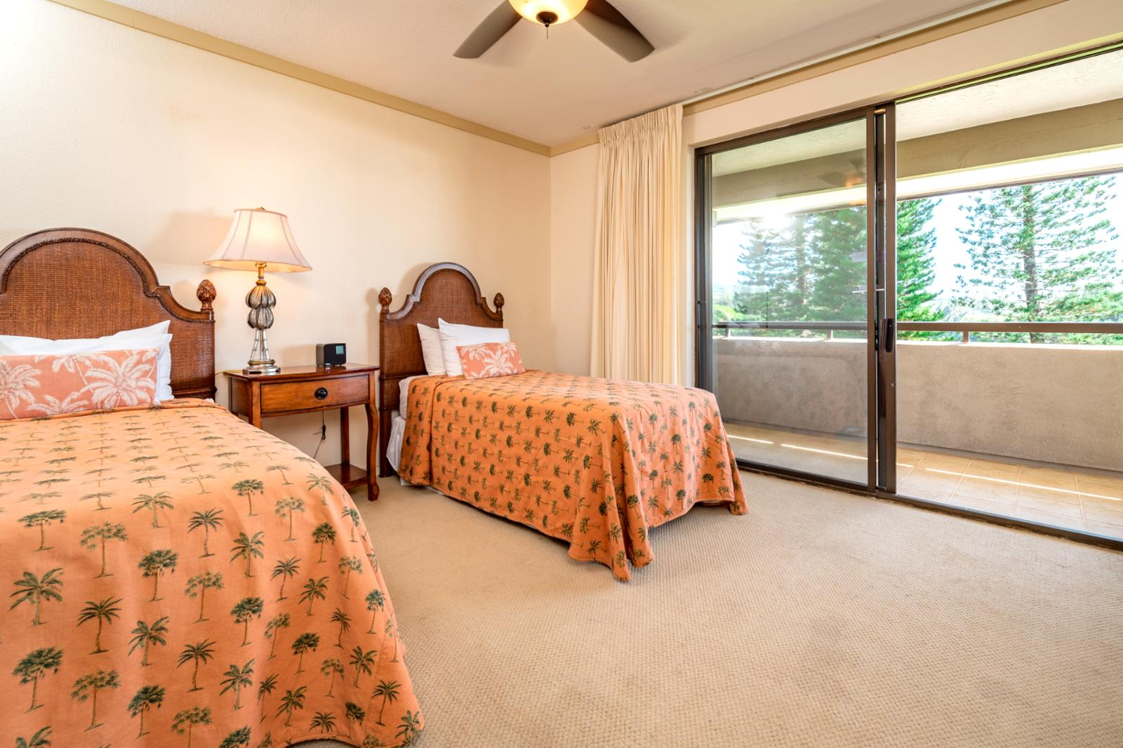 Private access to the balcony and equipped with suite ceiling fan!