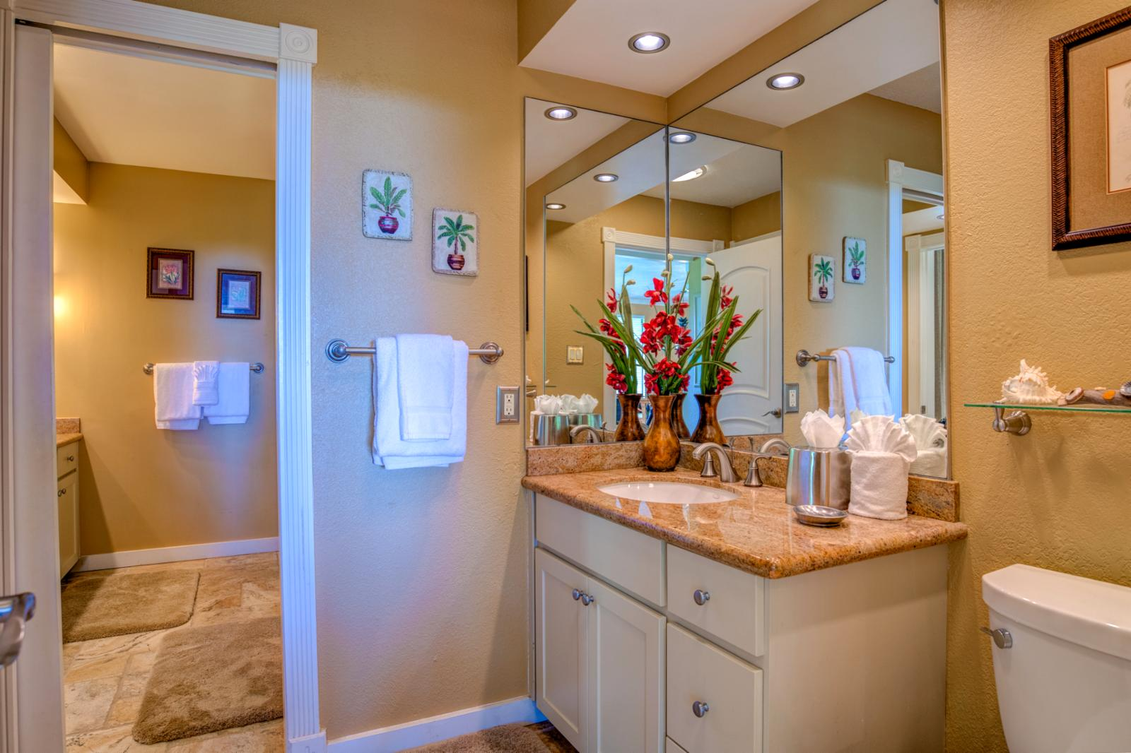 Guest half bath with ample storage