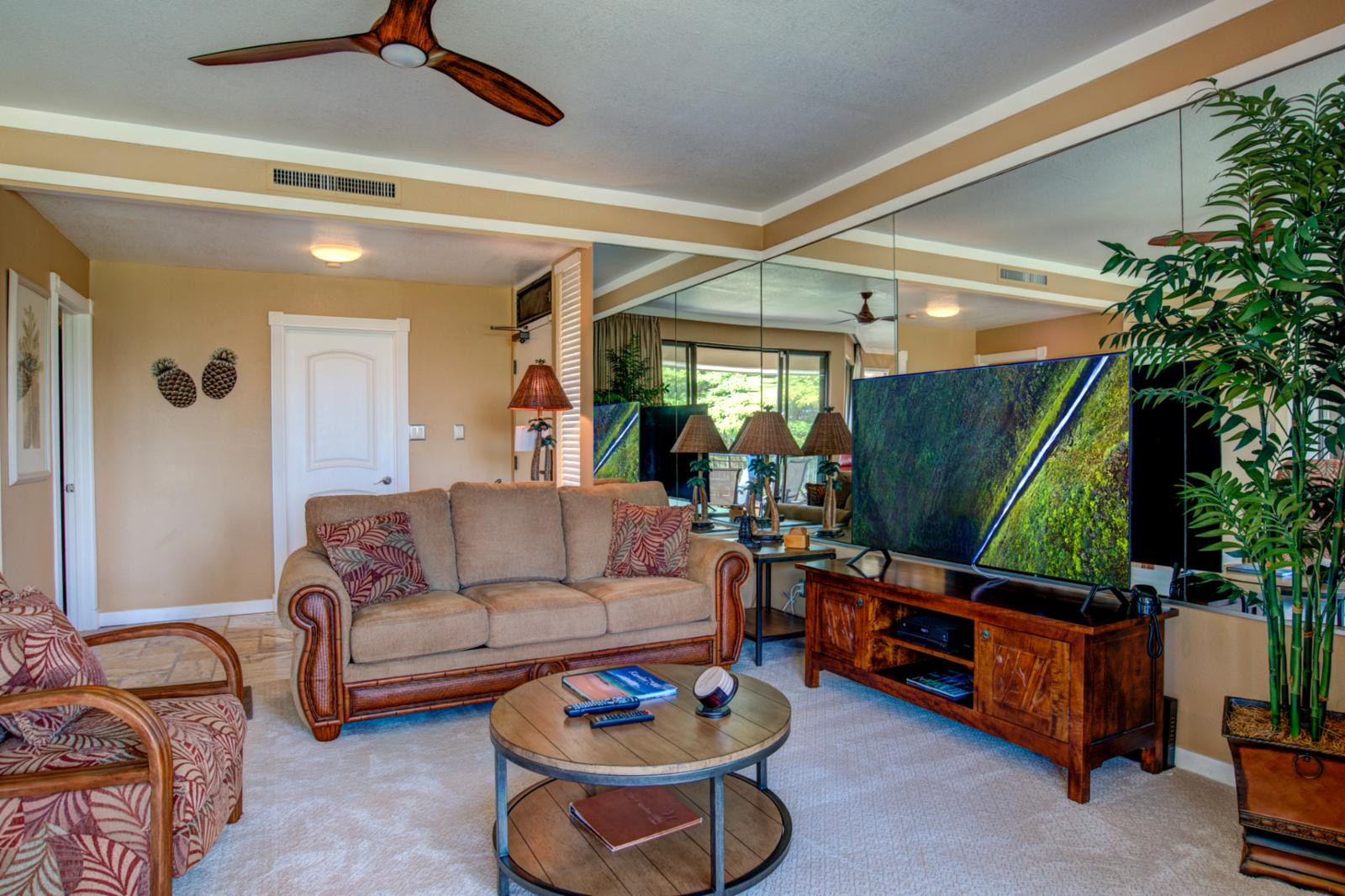 Open concept with newly install ceiling fans