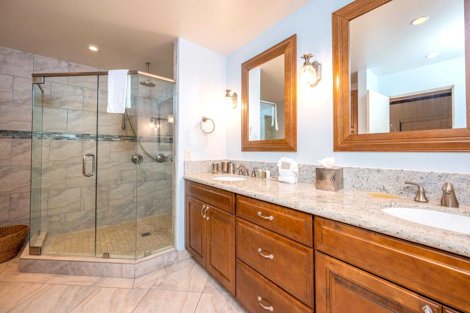 Master Bath with walk in shower and double vanity