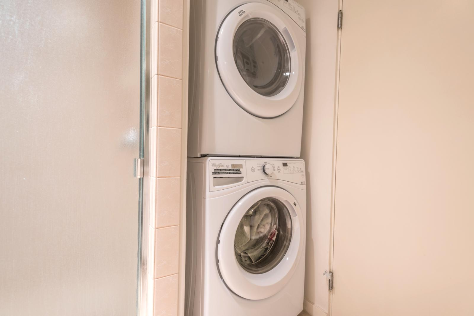 Stackable washer and dryer in unit! Ready for your exclusive use