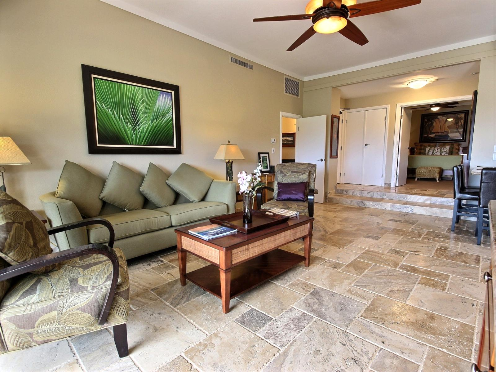 Living room with custom travertine tile