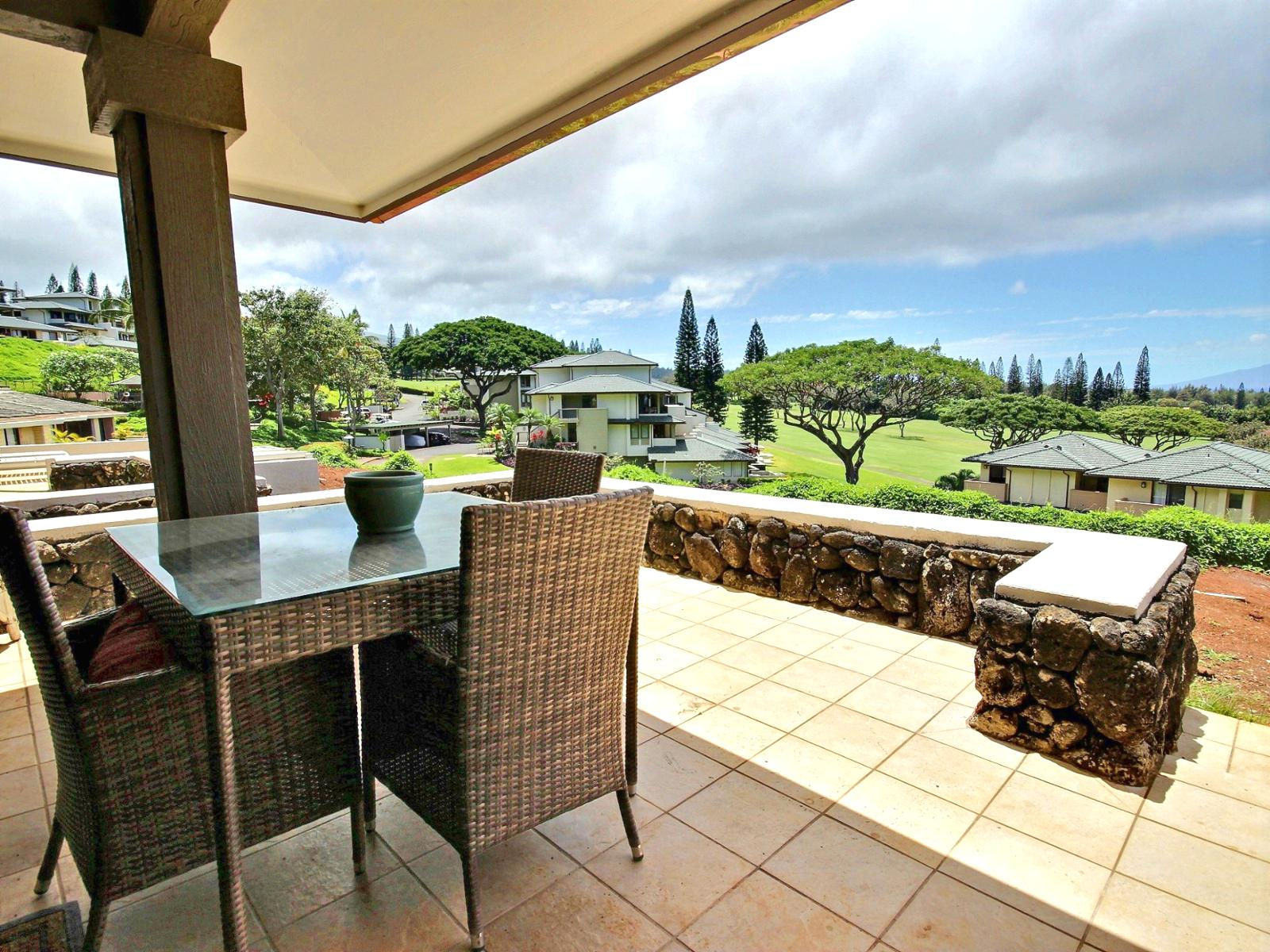 Massive lanai with seating and gorgeous views