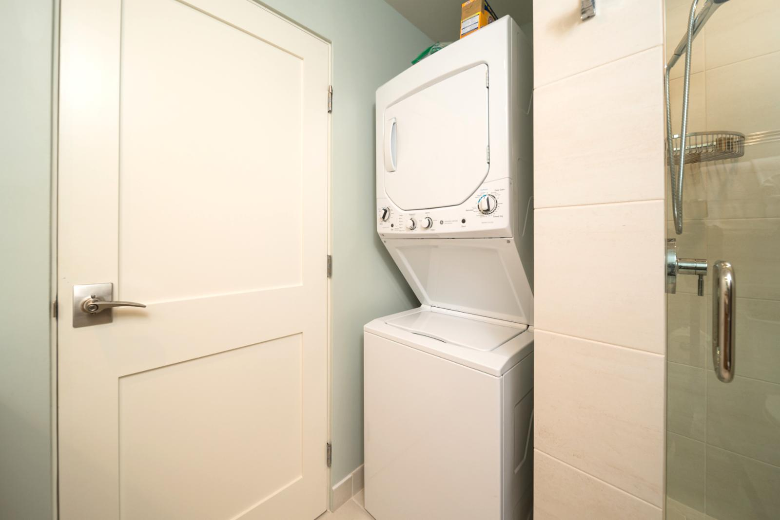 In unit ready for your use, fully stocked with amenities