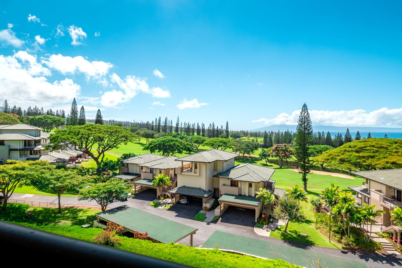 Endless ocean and golf course views