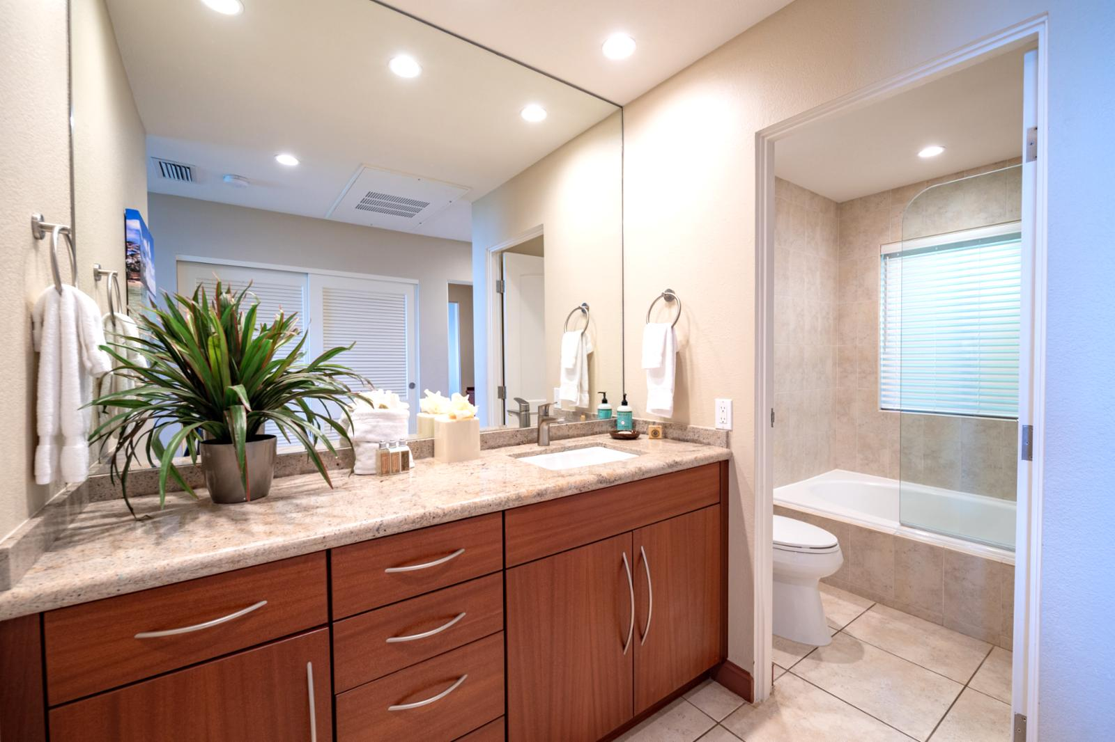 Beautiful upgraded master bath with soaking tub and shower combo