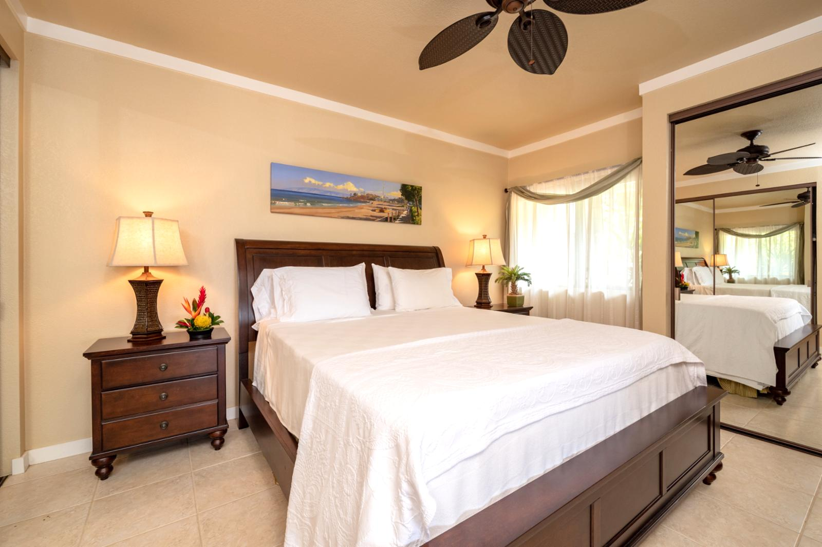 Large guest suite with garden views easy access to the pool deck