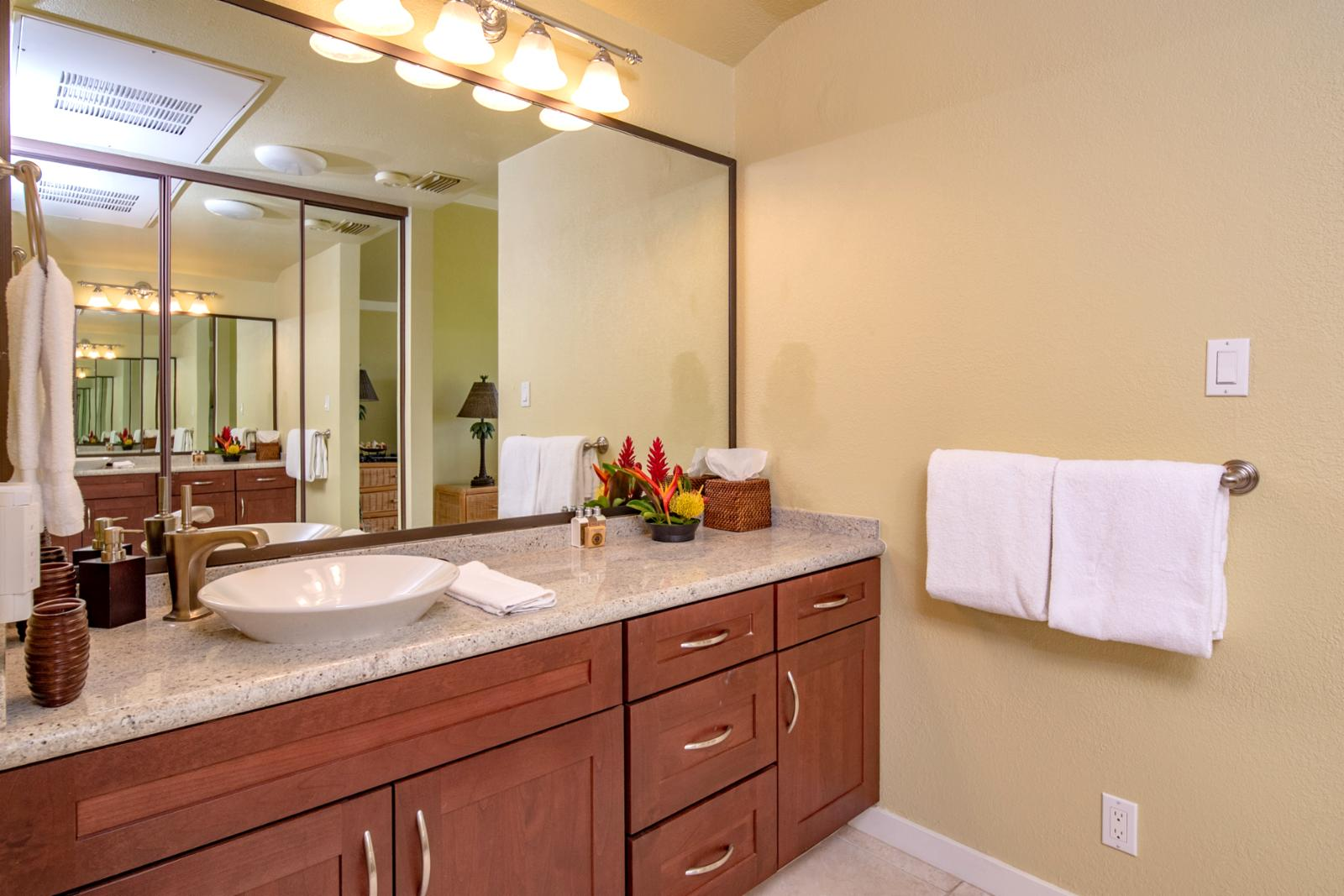 Master suite bath with large counter space and upgraded lighting