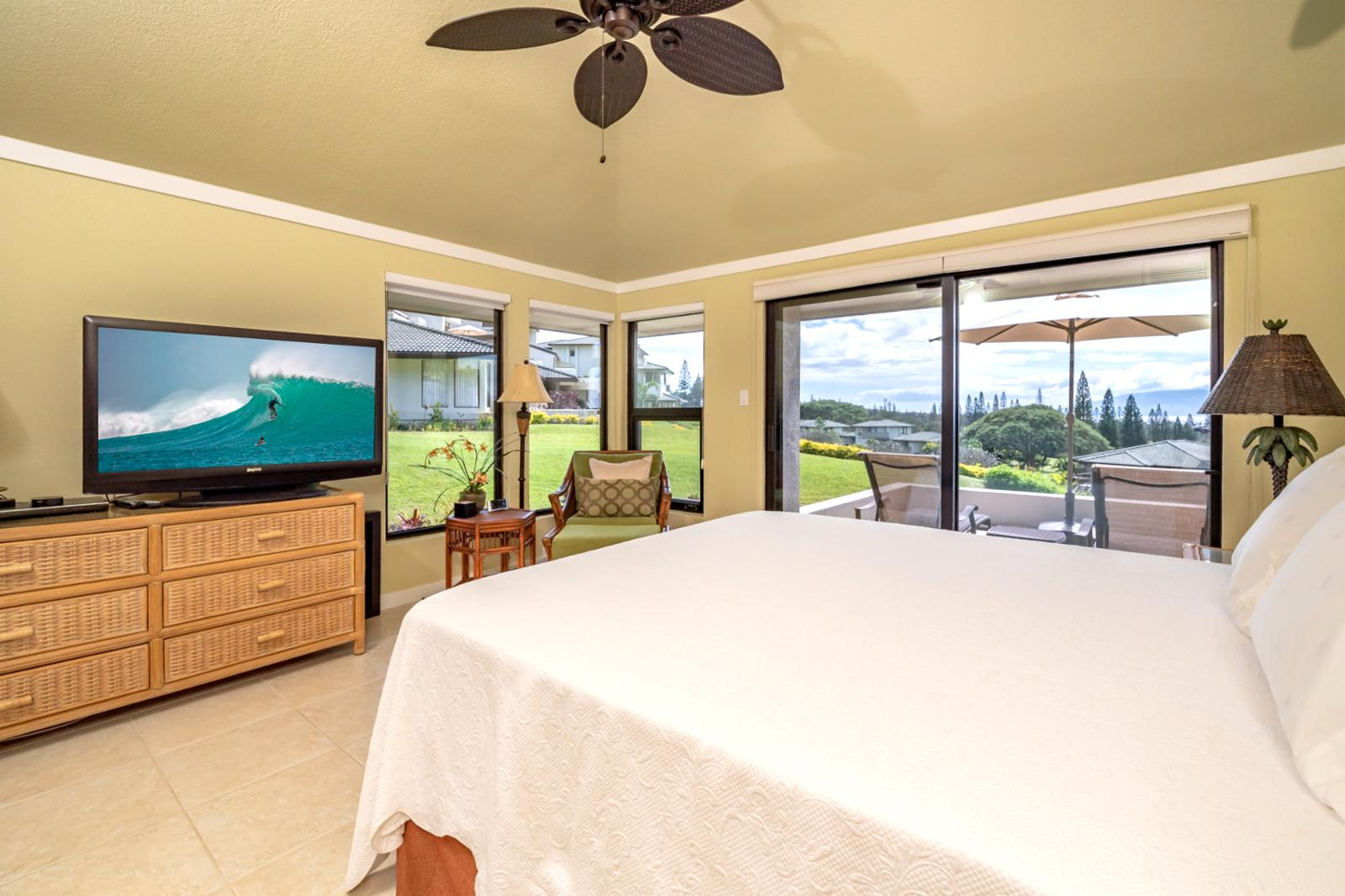 Views of the island of Molokai from this master suite