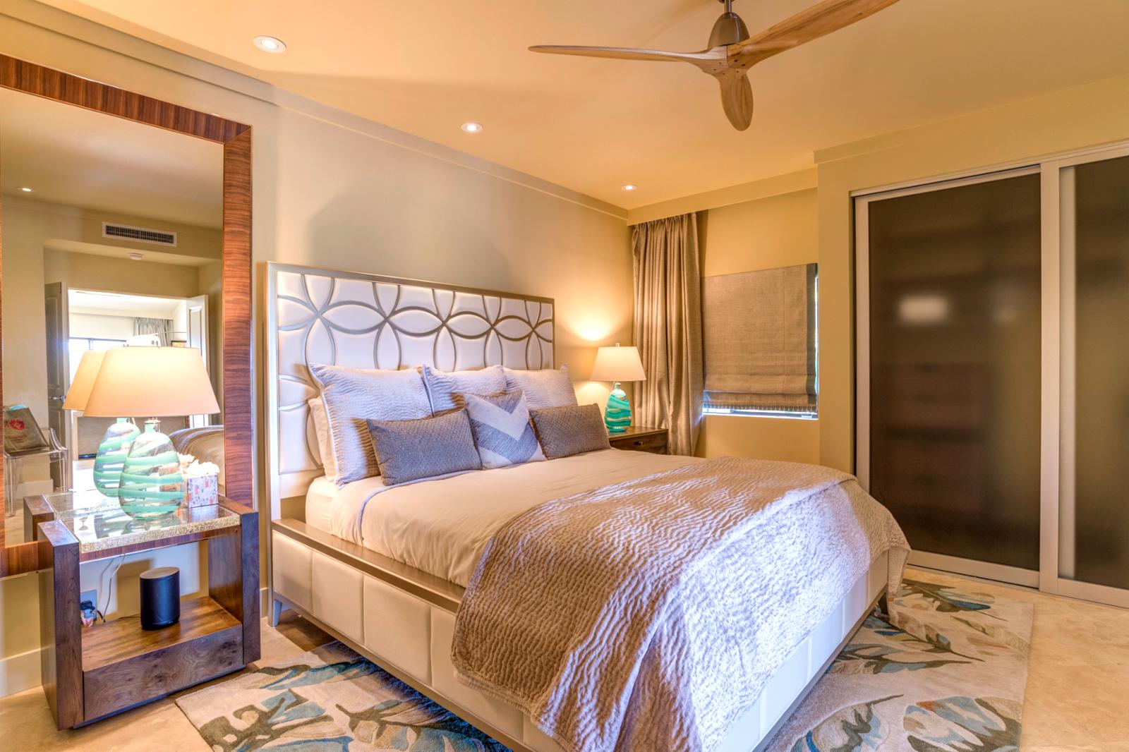 Large guest suite, all new interiors, ceiling fan, remastered walk in closets