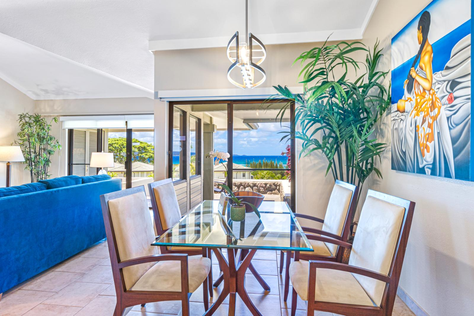 Enjoy the views while eating meals indoors!