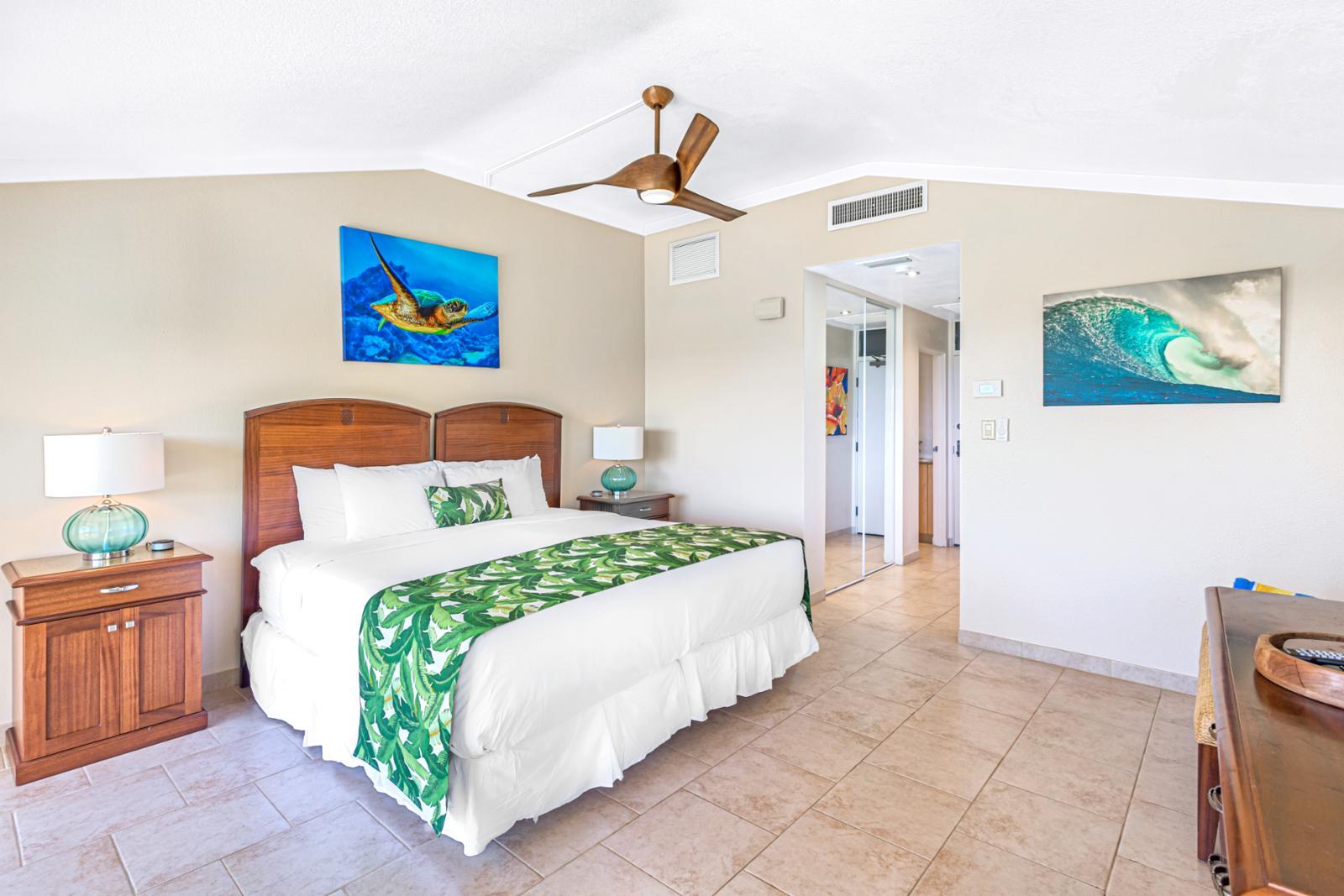 King bed, alternate setup of 1st floor guest bedroom.