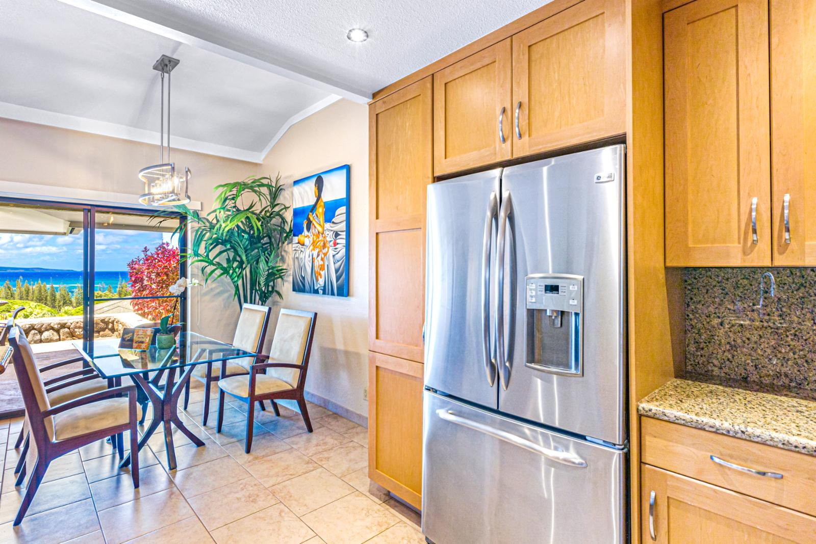 Well stocked kitchen with plenty of storage.