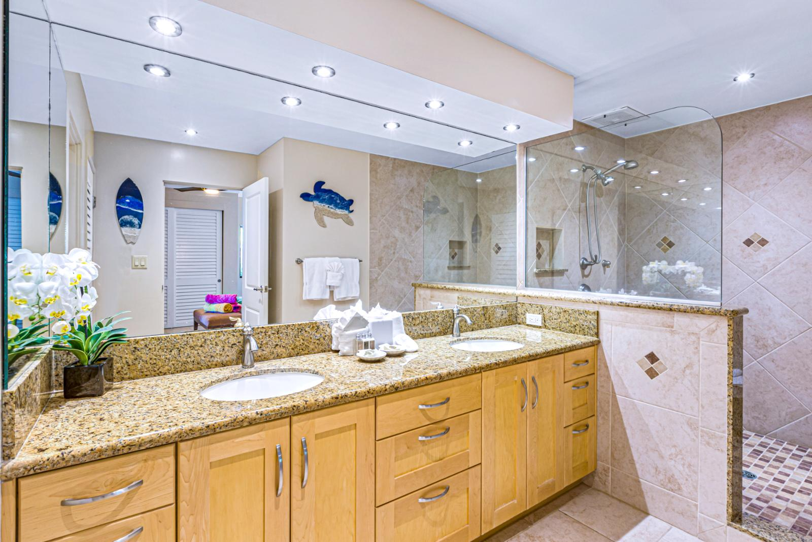 Spacious master bath with huge shower!