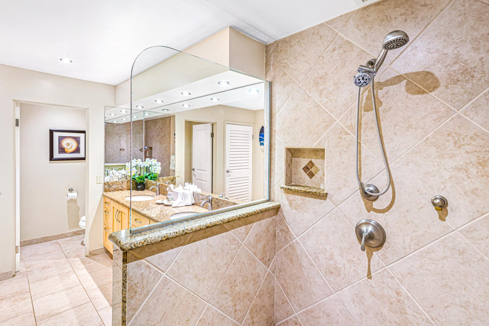 Amazing walk-in shower right off the bathroom!